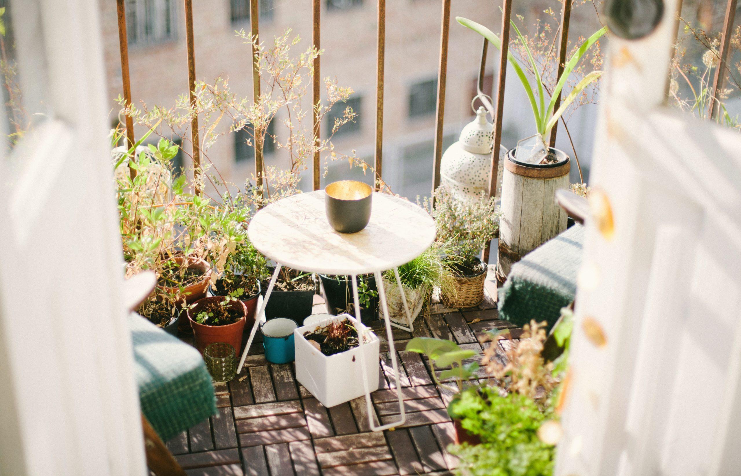 Cómo limpiar el suelo de la terraza - terraza con plantas y mesa