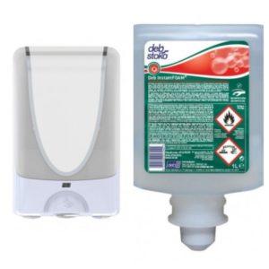 DISPENSADOR Automático Blanco + Gel Espuma Desinfectante 1L