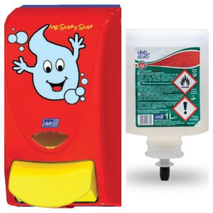 DISPENSADOR Manual Niños + Gel Desinfectante 1L